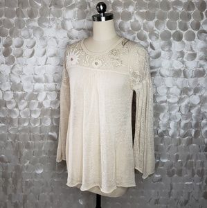 Laureate Lane Cream delicate knit sheer sweater M